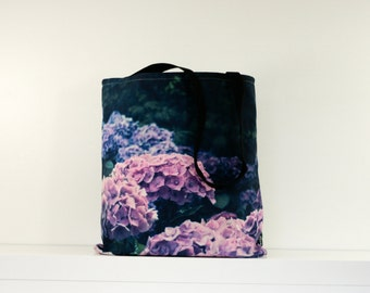 Lilac Hydrangeas Floral Tote Bag, Canvas Bag, Summer Beach Bag, Gift for Her.