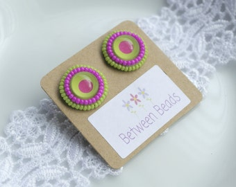 Stud Earrings, Neon Colors, Pink and Green, Bright Pink, Hot Pink Earrings, Lime Green Earrings, Spring Jewelry, Round Earrings