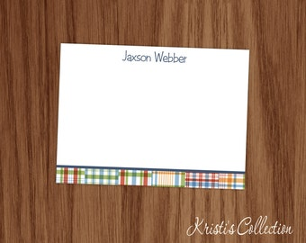 Personalized Flat Note Card Set - Kids Boys Preppy Madras Plaid Custom Cards - Personal Stationery Stationary Gifts