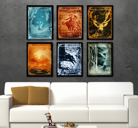 Game of thrones six poster set game of thrones by for Decoration murale game of thrones