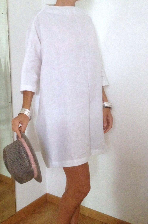 Linen dress plus size clothing linen tunic linen womens for Linen women s shirt