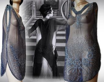 Avant Garde Deco Great Gatsby embellish vintage Sheer mesh embroidery bead flapper 20s charleston Gatsby black Deco dress sz UK 8 10 US 4 6