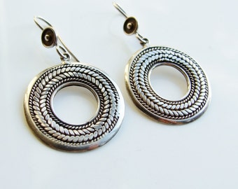 Vintage 925 Sterling Silver Large Ring Hoop Earrings