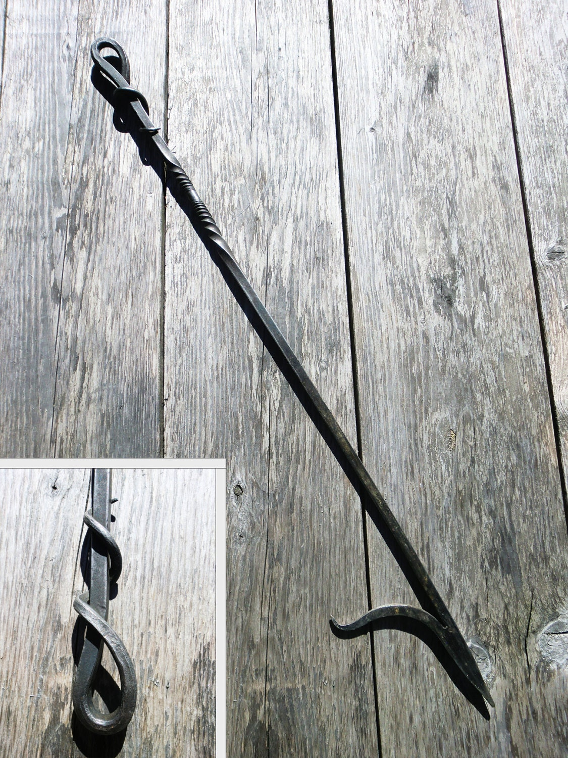 hand forged fire poker wrought iron fireplace tools outdoor