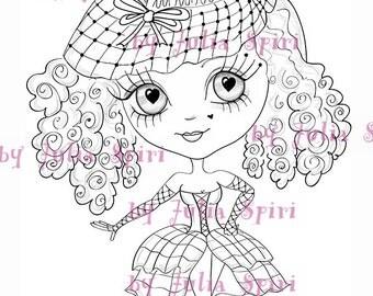 Instant Download Digital Stamps, Big Eye, Digi stamp, Scrapbooking printable, Doll stamps, Coloring pages, Line art. Chic girl