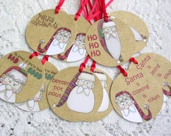 Santa Gift Tags - Round Fok Santa Christmas Tags -Set of 10 - Holiday Package Decorations