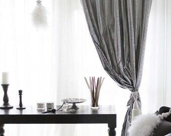 Sparkly Silver Foiled Plaid Blackout Curtain Nursery Curtains