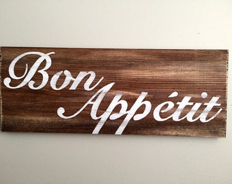 Bon Appetit Sign - Kitchen Decor  - Kitchen Sign - Rustic Wall Decor - Farmhouse Decor