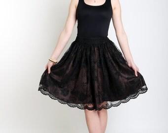 Black lace skirt Brown midi skirt Lace skirt for women Elastic waist skirt Lace women skirt Party skirt Brown women skirt  OOAK Fashion 2017