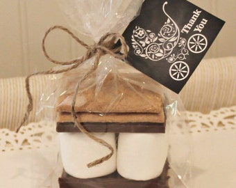 S'mores Favor Kits, 12 Baby Buggy S'mores Baby Shower Favor Kits, Baby Gender Reveal, Baptism Party Favor, Baby's Birth,  Baby Shower Favors