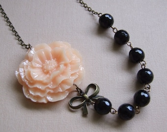 Statement Necklace, Peach and Black Necklace, Fall Flower Necklace, Bridal Jewelry