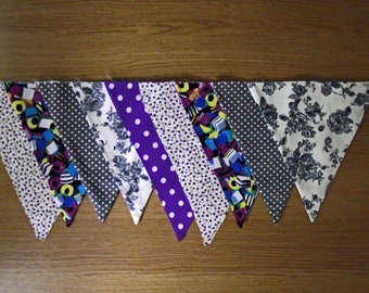Spotty Purple and Grey Floral and Polka Dot Lined Fabric Bunting