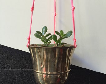 Brass Fluro Pink Hanging Pot Planter Vintage