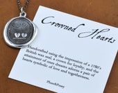 Crowned Hearts Wax Seal Pendant Necklace - Crown and Hearts Pendant Loyalty and Love 197