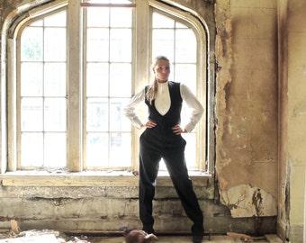 Antique Edwardian Mens Tuxedo Waistcoat and Trousers