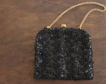 vintage 1950s black beaded evening bag / vintage 50s black handbag / little black beaded cocktail bag purse