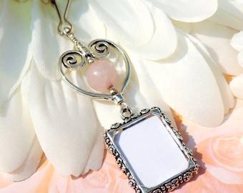 Wedding bouquet photo charm. Rose quartz & heart photo charm. Bridal bouquet charm. Gift for the bride. Wedding keepsake. Gift for her.