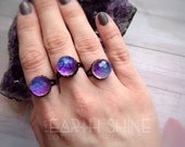 Crystal ball ring, Color shifting, swarovski heliotrope, Purple and Blue, sparkly witch ring