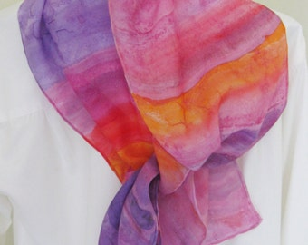 Hand painted silk scarf leaf design pink purple orange Canadian scarf design
