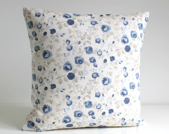 Decorative Pillow Cover, Shabby Chic Cushion Cover, Flower Pillow Sham, Accent Pillow, Sofa Pillow - Mini Flowers Blue