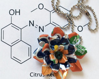 Fanta Orange Necklace - Soda Poppies UpCycled Aluminium Flowers - Soda Can Flower Pendant Necklace - Pop Can Flower Jewelry