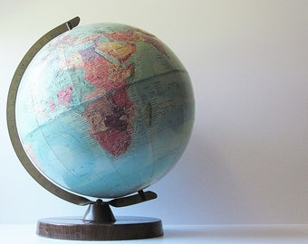 Vintage 1950s World Earth Globe - 12 Inch Replogle Stereo Relief Globe - School Teaching Education Tool - Mid Century Home Library Decor