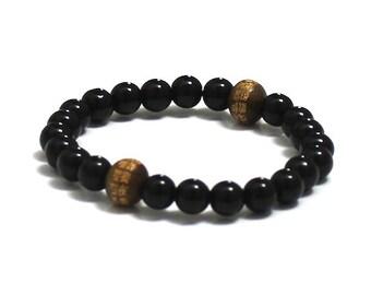 Mens Beaded Bracelet, Onyx Chakra Healing Mens Inspirational Jewelry, Chinese Words Mantra Buddhist Bracelet,,Mala Beads, Yoga Worry Beads