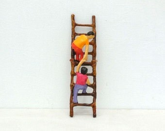 Kids Climbing Ladder Paper Sculpture