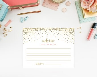 Instant Download - Confetti Shower Advice for the Bride Cards