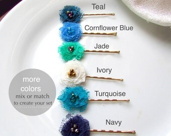 PICK 6 Shabby Flower Hair Pins, Tiny Fabric Flower Baby Hair Clips for Girls, Blue and Green hairpins, Turquoise Jade Navy Teal Ivory Gold