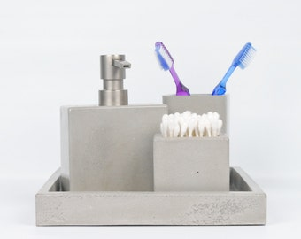 Concrete Bath Set / Concrete Tray / Concrete Soap Dispenser / Concrete Toothbrush Holder / Concrete Q-Tip Holder / Bathroom Organization