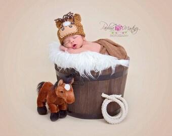 Horse Hat baby,Newborn horse hat,Baby boy, Pony hat baby, Photo prop, Baby Girl horse hat, farm animal hat -Dark and light Brown , white