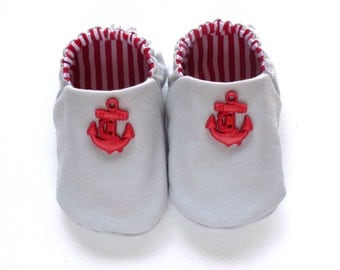 Nautical Baby Boy Shoes with Anchors, 0-6 mos Baby Booties, Gray and Red, Soft Sole Shoes, Boy Crib Shoes, Slip on Baby Shoes, Baby Boy Gift