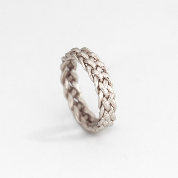 White Gold Wedding Band Unique Ring Women White Gold Braided