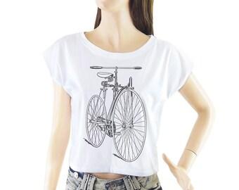 Bicycle shirt women shirt cropped tee crop tops
