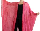 Pink Silk Kimono, Long Kimono, Coverup, Pink Kaftan, Silk Caftan, Hippie Gypsy Boho Chic, Duster, Festival Jacket, Kimono Jacket