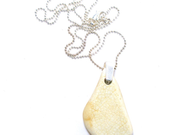 """Cream Color Crazed Sea Pottery with a Sterling Silver Bail on a 925 Sterling Silver Diamond Cut Bead Chain Necklace 16""""-24"""""""