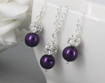 Dark Purple Necklace Earrings Set, Purple Necklace, Bridesmaids Gifts, Flower Girl Jewelry, Bridesmaid Jewelry