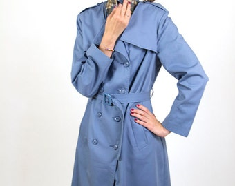 Blue vintage coat, trench coat, women overcoat, blazer, outwear, spring coat,  S/M, 36, raincoat