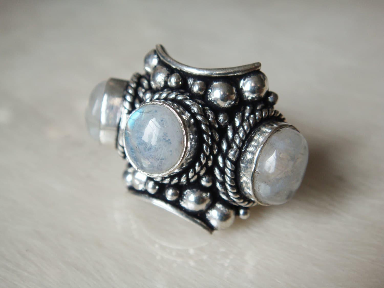 rainbow moonstone ring moonstone ring gemstone jewelry ring