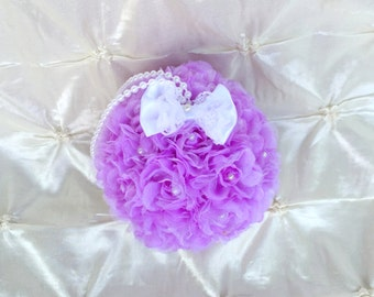 "Flower Ball Purple Rose Kissing Ball 5"" Bridesmaid Flower Girl Wedding Pomander Satin Lace Bow Rose Bouquet Pearls Pew Decor Free Hair Pin"