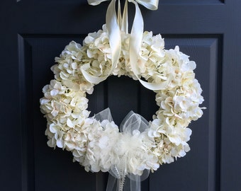 The Wedding Veil Wreath | Wedding Flower Wreath | Bridal Veil Wreath | Hydrangea Wreaths | Wedding Wreaths | Bridal Shower | Veil Wreaths