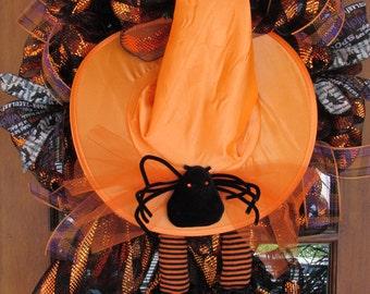 """24"""" Witch's Hat Wreath Witch's Leg Wreath Spider Wreath Halloween Wreath Halloween Door Decor Witch Door Decor Witch's Boot Wreath"""