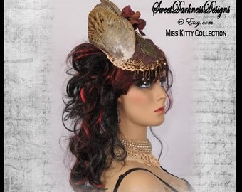 Steampunk Fascinator Taxidermy FULL PHEASANT WING Victorian Fascinator Brown Beads Ivory Lace Womens Steampunk Hat by SweetDarknessDesigns