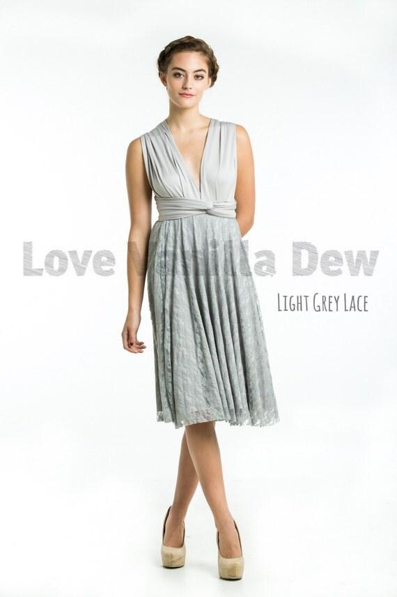 Bridesmaid Dress Infinity Dress Light Grey Lace Knee Length