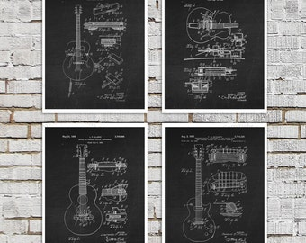 Vintage Gibson Les Paul Guitar Poster set of 4 BW Art Gibson Guitar prints. Electric Guitar, Boyfriend gifts, Anniversary gifts for men
