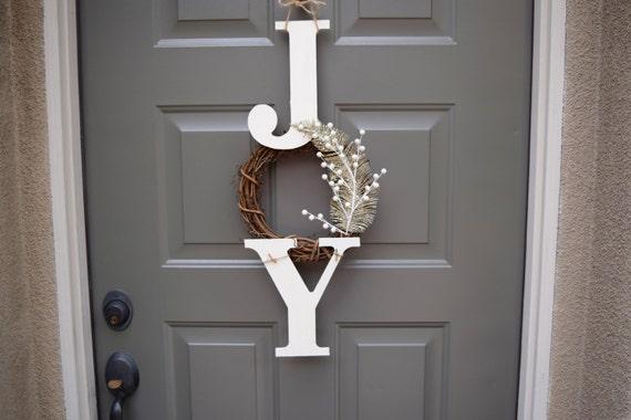 Joy Sign Joy Wreath Christmas Sign Christmas Door Hanger