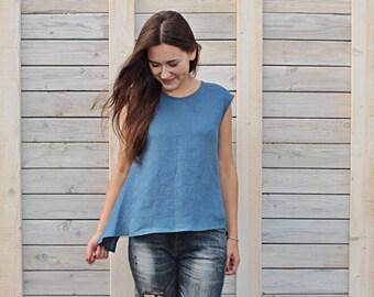 Linen steel blue summer blouse / Flax top for woman / Modern summer flax cloth