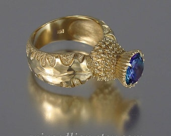 BLOOMING THISTLE 14k gold ring with Alexandrite