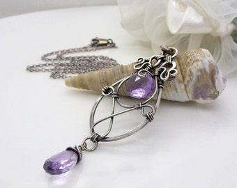 Sterling silver amethyst necklace, oxidized silver wire wrapped jewelry, handmade jewelry, purple teardrop amethyst pendant
